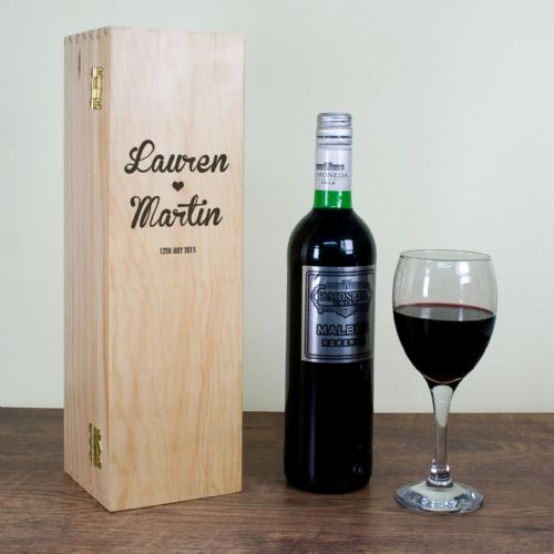 Personalised Couple's Romantic Wine Box Single